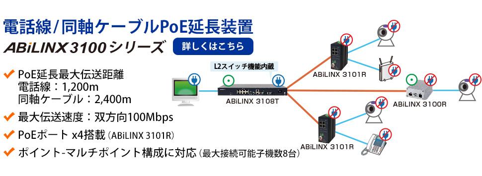 【電話線/同軸ケーブルPoE延長装置】ABiLINX 3100シリーズ