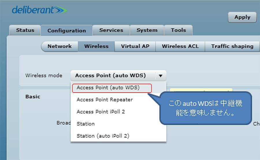 対策2. 現行のファームウェアを利用したまま、単体のAccess Pointとして動作させること。