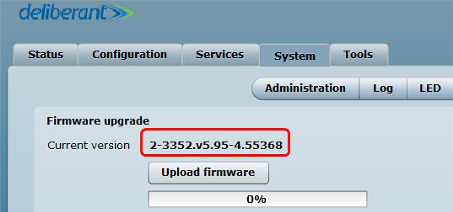 2~3分後に再起動を経てアップグレードが完了しますので、再度Firmware upgradeのページにてバージョン名に間違いがないかを再確認します。
