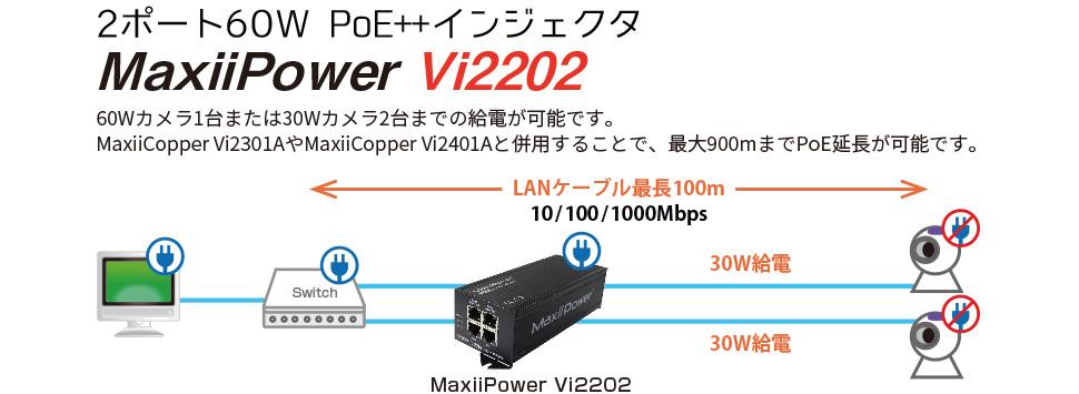 【2ポート60W PoE++インジェクタ】MaxiiPower Vi2202