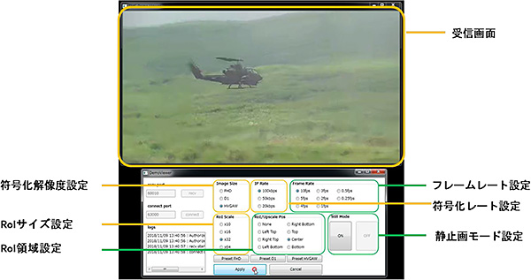 超低レート耐環境型ビデオデコーダ ULC(Ultra Low rate video Codec):操作画面イメージ
